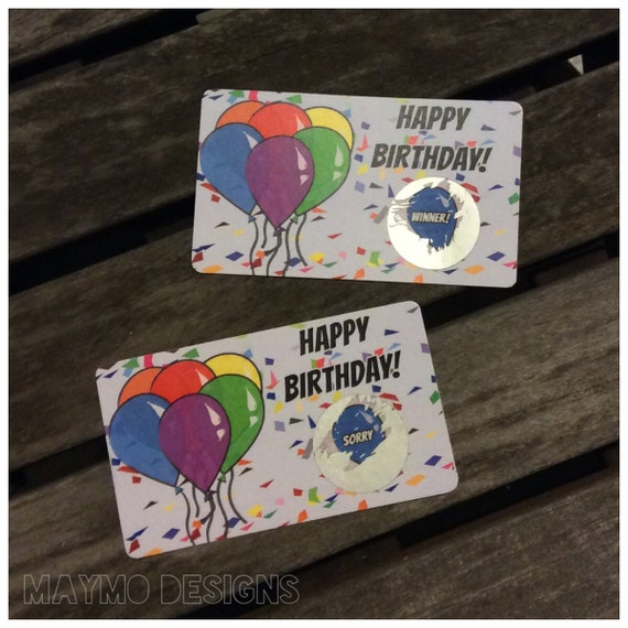 Items Similar To Happy Birthday Scratch Off Game Card On Etsy
