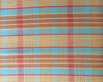 Turquoise Aqua Robins Egg Blue Orange Red Yellow Plaid Fabric