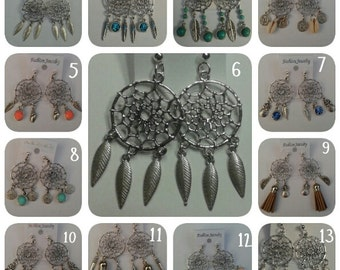 SALE: Dreamcatcher earrings in many colors with beautiful charms