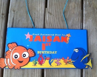 Finding Dory Birthday Door Sign, Finding Nemo Party Decorations.