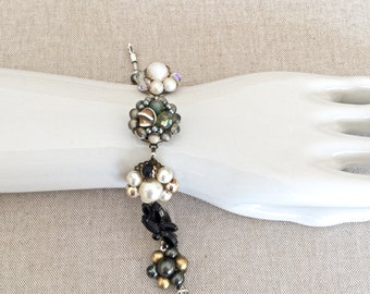 Vintage repurposed earring bracelet-black, white, gray, bronze, crystal, pearl, rhinestone- wedding jewelry, bridesmaid gift, bridal- VEB005