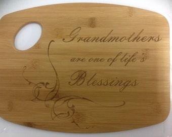 Laser Engraved Bamoo Grandmothers Cutting Board