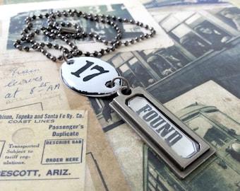 Found Object Necklace, Gunmetal Jewelry, Cattle Tag Necklace, Number Plaque Necklace, Gunmetal Necklace, Charm Necklace, Steampunk Necklace
