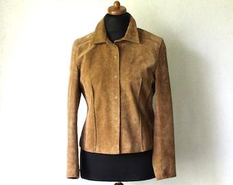 Camel Brown Suede Leather Jacket Short Ladies Jacket Medium Size