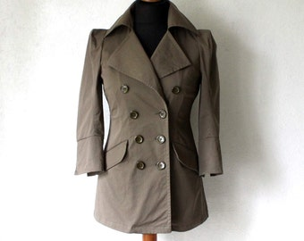 MARIMEKKO Khaki Double Breasted Jacket 3/4 Sleeves Trenchcoat Small Size