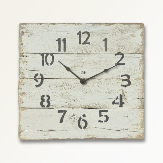 Rustic Wall Clock Shabby Chic Beach Decor In White Clock Coastal Theme