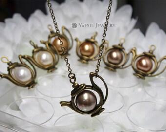 Jasmine Tea Pot Necklace: Antiqued Brass Tea Pot Necklace, Golden Pearl Tea Pot Necklace, Fable Necklace