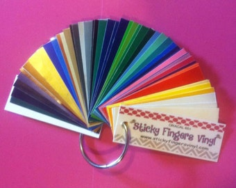 "ORACAL 651 Adhesive VINYL Sample Ring 1"" x 3"" on metal ring...ALL 55 Colors!!"