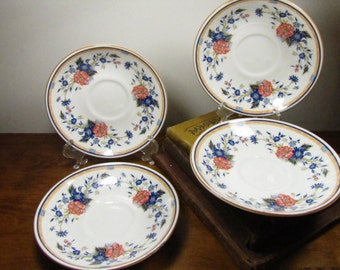 Vintage Fine Bone China Crown Staffordshire - PENANG - Set of Four (4) Saucers