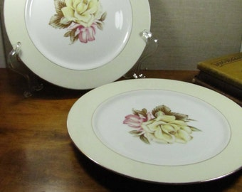 Set of Two (2) Dinner Plates - Narumi - Yellow Rose - Made in Occupied Japan