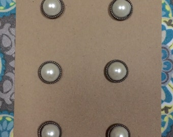 pearl on brass magnets - small magnets - set of 6 - refrigerator magnets