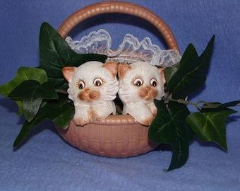 Ceramic Kitten Basket