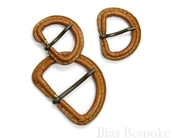 Caramel Colored Leather D-Ring Buckles in Two Sizes, Made in Italy