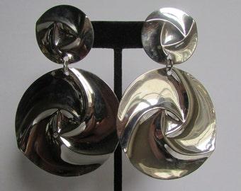 Vintage earring- Silver drop earrings- 90s Jewelry