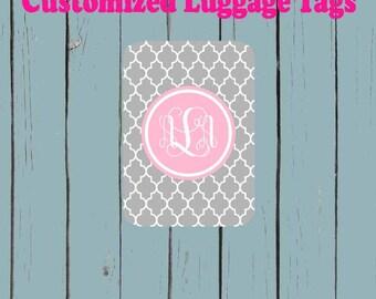Grey Quatrefoil print Pink Monogram Name Luggage Tag - Luggage Tag Monogrammed