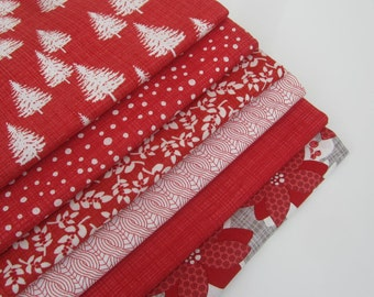 Moda Designer Fabric 'Winterberry' Christmas Fabric Fat Quarter Bundle x 6