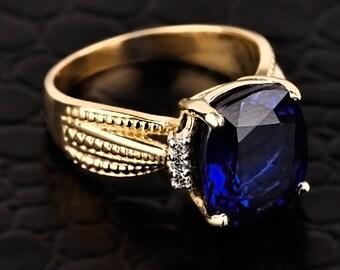 Blue Sapphire ring, yellow gold diamond blue sapphire ring, CZ blue sapphire engagement ring, September birthstone ring, gold sapphire ring