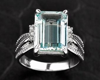 Aquamarine Ring, Gold Diamond Aquamarine Engagement Ring, Diamond Aquamarine Gold Ring, Aquamarine March Birthstone Ring, Aquamarine Jewelry