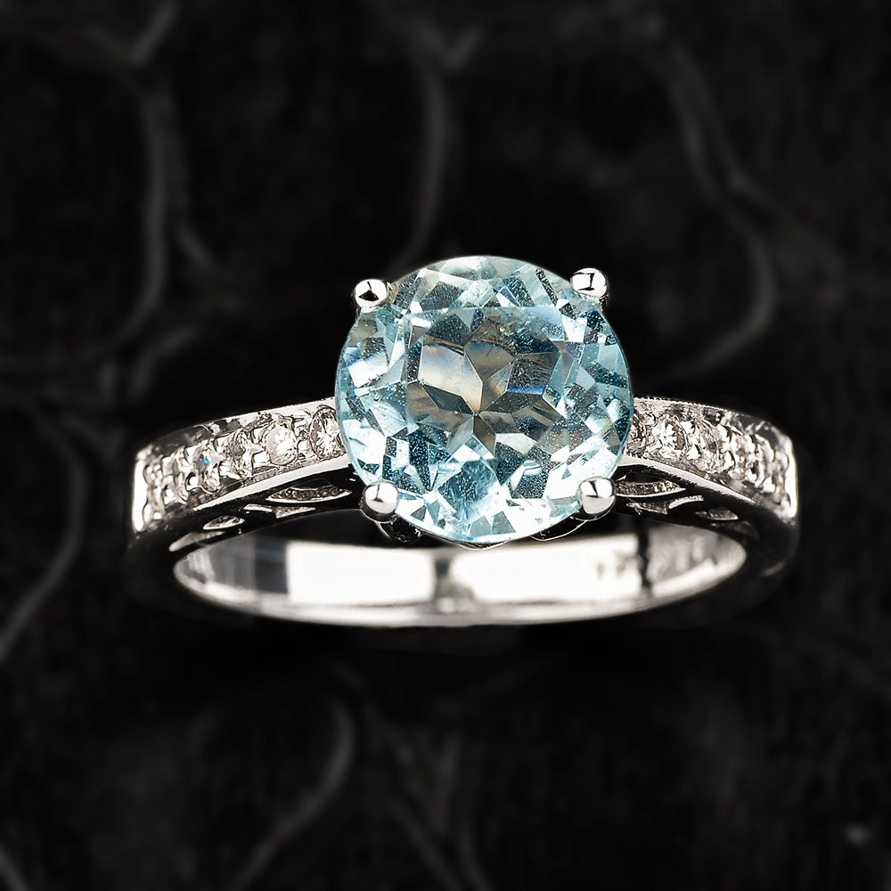 aquamarine ring gold diamond aquamarine engagement ring. Black Bedroom Furniture Sets. Home Design Ideas