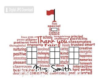 Teacher School House Word Art, Teacher Gift, School House Art, Teacher Appreciation Gift, Teacher Thank You, PRINTABLE DIGITAL FILE