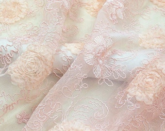 3D Chiffon Floral Pink Lace Fabric Tulle Lace Wedding Dress Costume Fabric Curtain 47'' Wide 1/2 Yard S0125