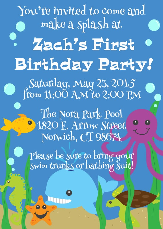 Ocean Theme First Birthday Invitation 1st 2nd 3rd Birthday