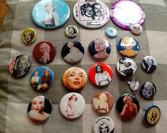 Lot of 25 Marilyn Monroe Pins