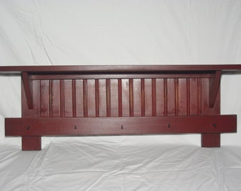 "Handmade 34 "" Cranberry Primitive Country Rustic Shaker Wall Shelf"