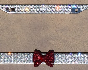 7 Rows of Crystal Rhinestone Bling License Plate Frame with Garnet Red Bow Matching cap covers included Car accessory for Women Girls