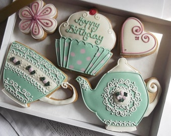 Teatime Vintage Style Happy Birthday Cookie Gift Box