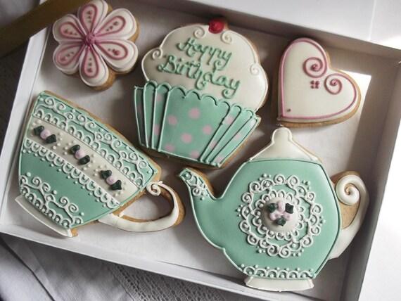 Teatime Vintage Style Happy Birthday Cookie Gift Box Gift