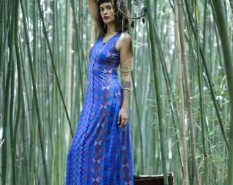 Stripe open back Long Dress in Blue Tribal Print
