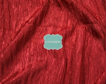 "Fabric by the Yard - Crushed Taffeta Fabric - Polyester 54"" Wide Crushed Accordian Taffeta Fabric - Cherry Red"
