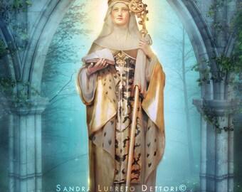 "Saint Audrey/Etheldreda Catholic Art, Religious Art, 8x10"" Print by Sandra Lubreto Dettori"