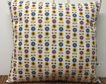 New! Small Scandi Flower Cushion Cover. Made in Cornwall.