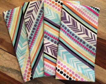 Diagonal stripes and arrows, purple, pink blue and yellow-Set of 2 or 4