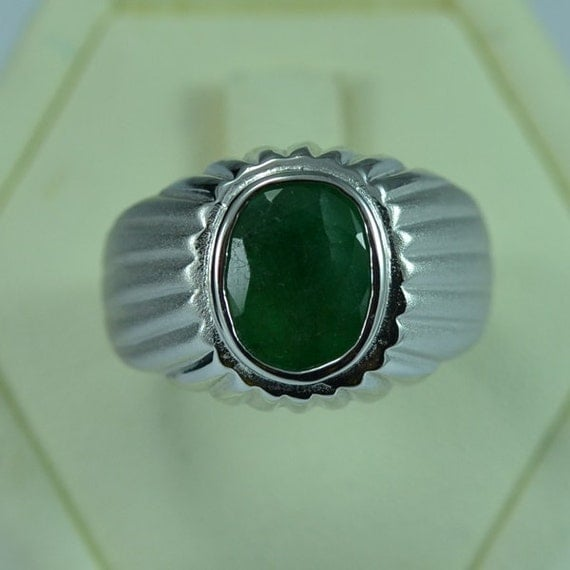 Items similar to Sterling Silver Natural Emerald Men Ring Persian Antique Vin