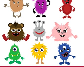 Little Monsters  Clipart / Monsters Clip Art / Monsters vector  / cute Monster  Clip art / for personal and commercial use / AI