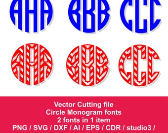 Monogram fonts for silhouette / svg, dxf, ai, eps, png, cdr, studio 3 / Chevron Circle monogram font / Commercial Use
