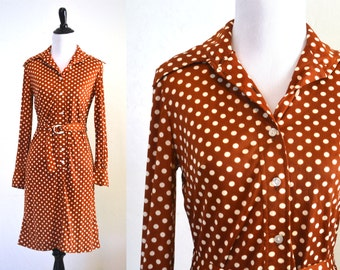 1970s Polka Dot Shirt Dress in Brown with Belt
