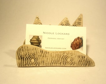 Mountain business card holder with wood grain texture- handmade ceramic business card