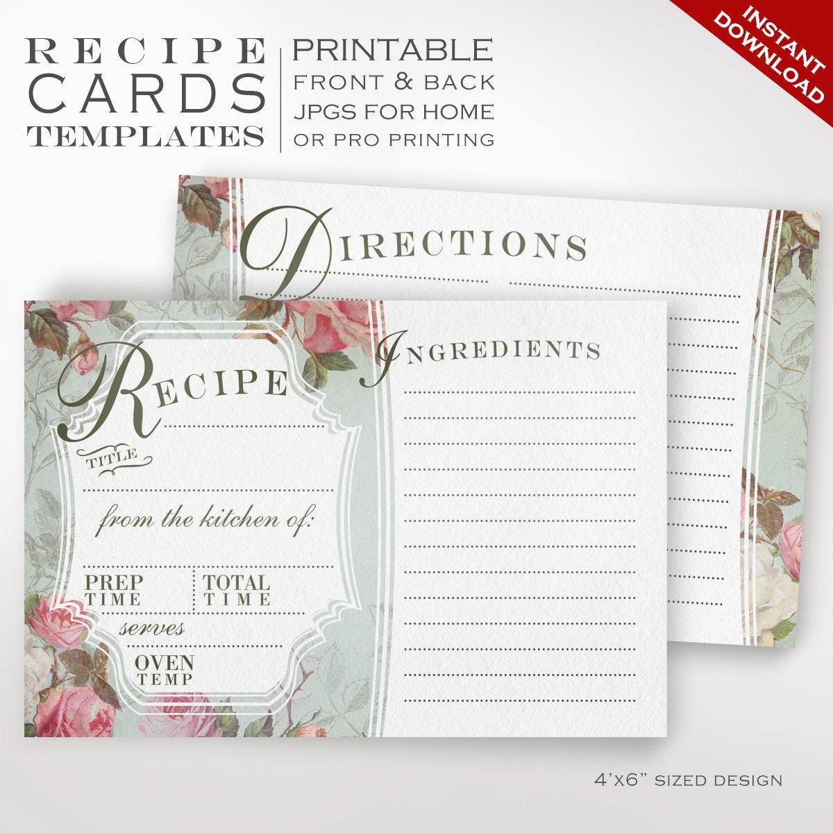 Recipe Card Template Vintage Rose Printable Recipe Cards