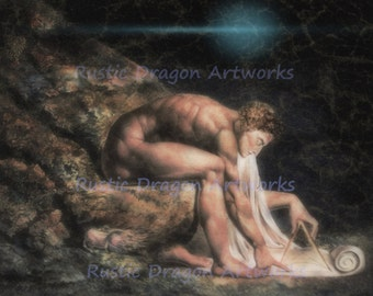 "William Blake ""Isaac Newton""  1795 Reproduction Digital Print Divine Geometer Philosopher Physicist Astronomer"