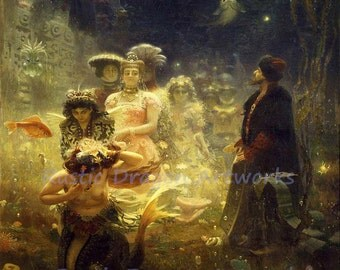 "llya Repin ""Sadko in the Underwater Kingdom"" C1876 Fantasy Reproduction Digital Print"