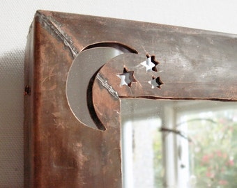 Copper Moon and Stars Mirror,  Copper Fish mirror, Wall Mirror, Decorative Wall Mirror, Rustic Decor, Wood Frame, Copper Frame, Metal Mirror