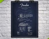 1956 Fender Guitar Patent Poster, Patent Art Print, Patent Print, Blueprint, Wall Art, Home Decor, Gift Idea, MUIN23P