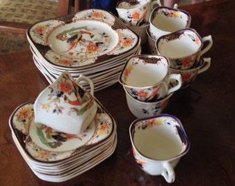 "Woods Burslem Pattern ""Denbigh"" Cups, Saucers, Plates"