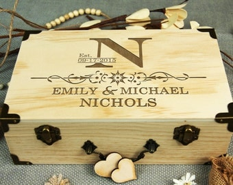 Custom Wedding Box, Guest Book Alternative, Personalized Wooden Box, Rustic Wedding, Keepsake Box, Wedding/ Bridal Shower/ Anniversary Gift