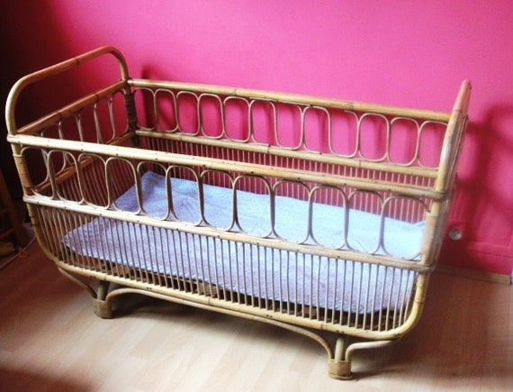Items Similar To French Baby Bed Crib Wicker Vintage