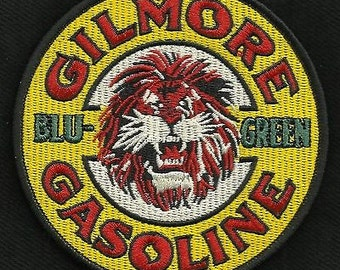 Vintage style gilmore gasoline BLU-GREEN hot rod rockabilly greaser biker patch